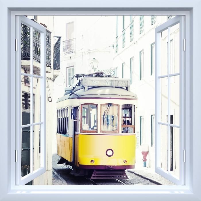 Papier peint vinyle Fenêtre ouverte blanche - Lisbonne - La vue à travers la fenêtre