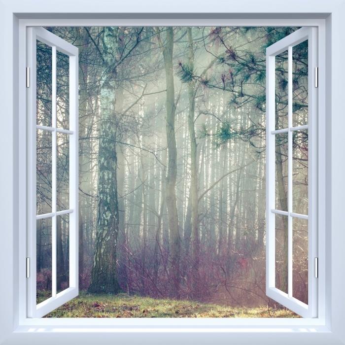 Vinyl-Fototapete Weiß offener Fenster - Wald im Nebel - Blick durch das Fenster