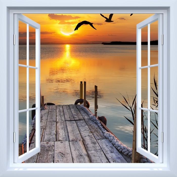 Papier peint vinyle Fenêtre ouverte blanche - Lac - La vue à travers la fenêtre