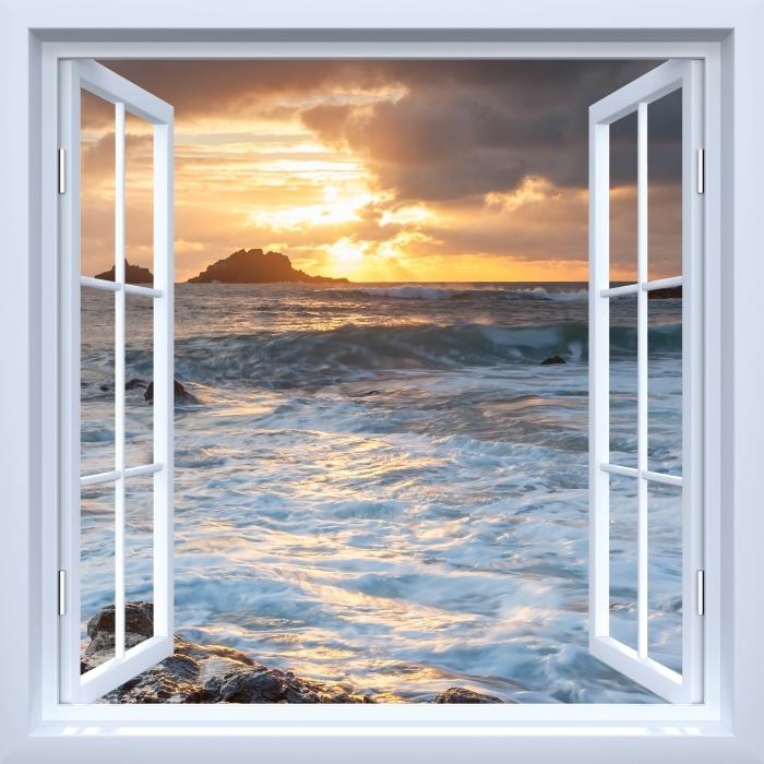 Valkoinen avoimen ikkunan - Iso-Britannia Vinyyli valokuvatapetti - Tarkastele ikkunan läpi
