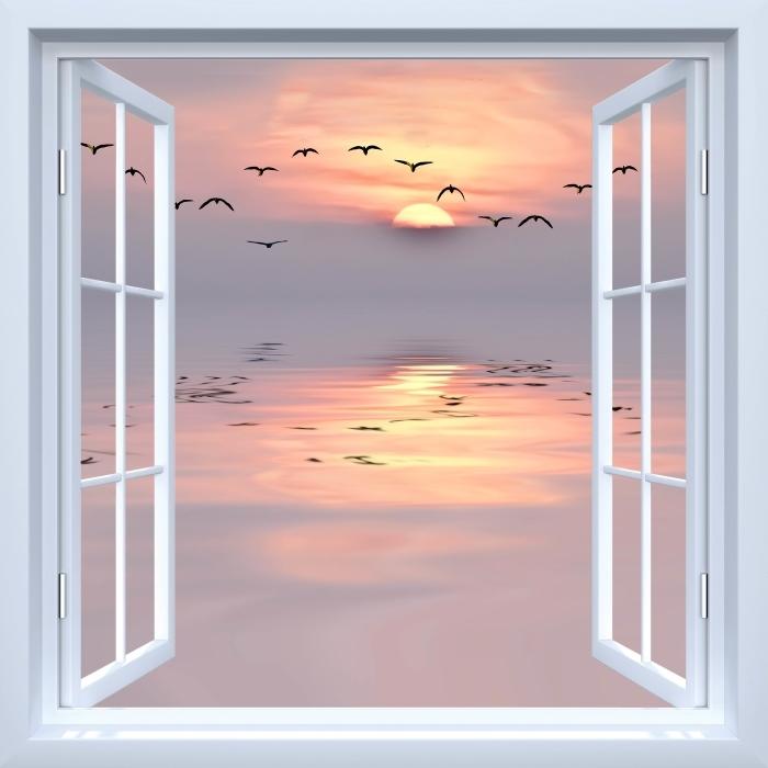 Fototapeta winylowa Okno białe otwarte - Zachód słońca - Widok przez okno