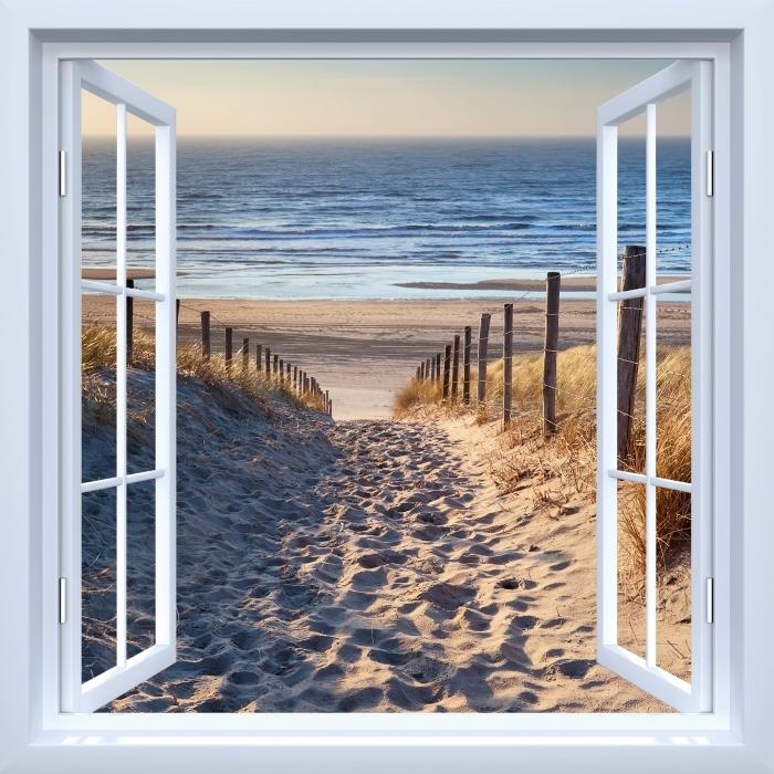 Vinyl Fotobehang White open raam - Noordzee - Uitzicht door het raam
