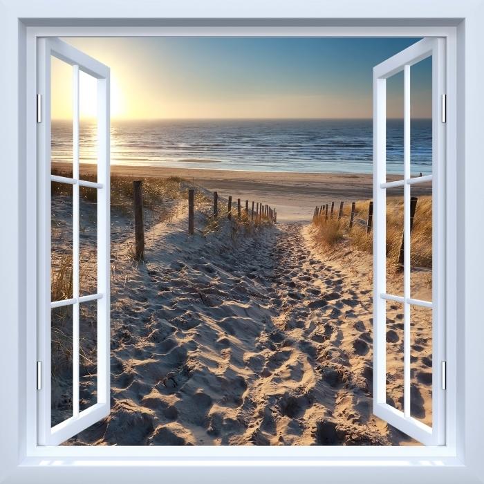 Papier peint vinyle Fenêtre ouverte blanche - Mer du Nord - La vue à travers la fenêtre