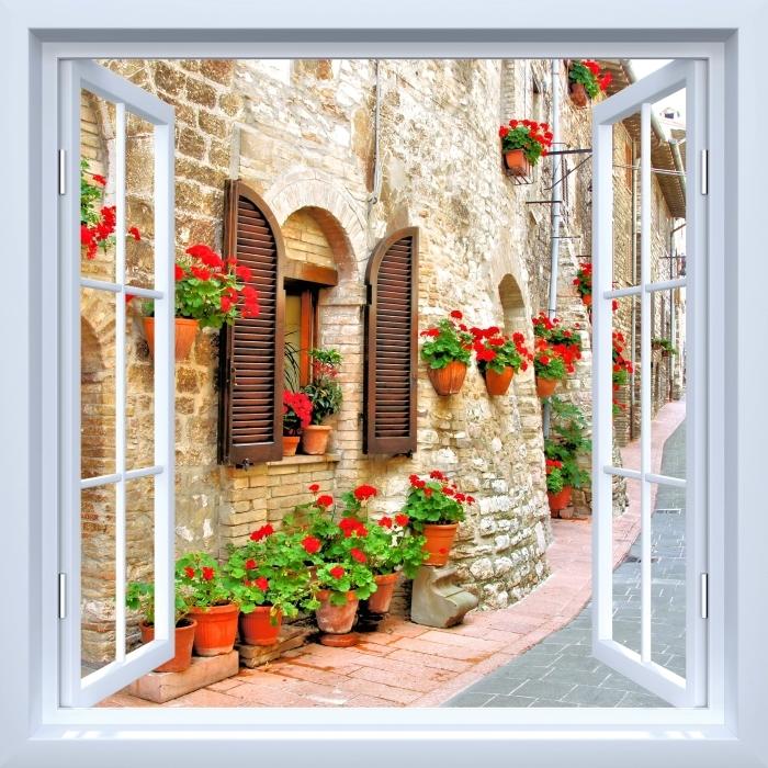 Papier peint vinyle Fenêtre ouverte blanche - colline italienne - La vue à travers la fenêtre