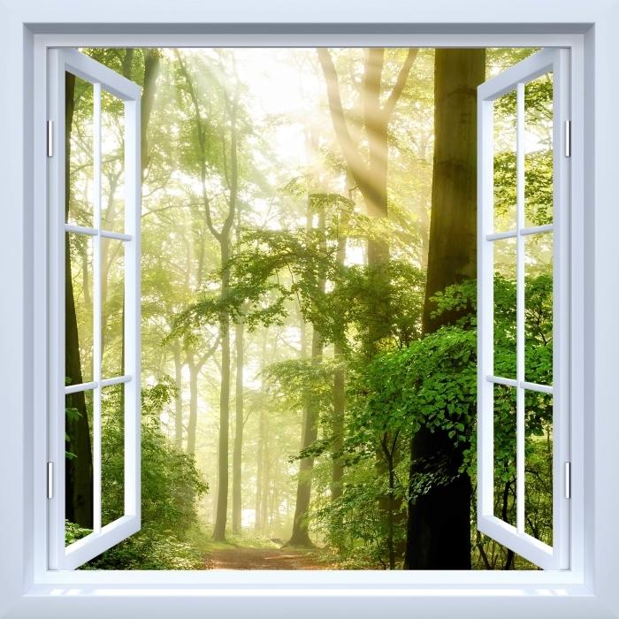 Vinyl-Fototapete Weiß offenes Fenster - Wald - Blick durch das Fenster