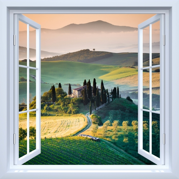 Fototapeta winylowa Okno białe otwarte - Toskania - Widok przez okno