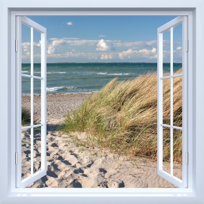 Papier peint vinyle Fenêtre ouverte blanche - Mer - La vue à travers la fenêtre