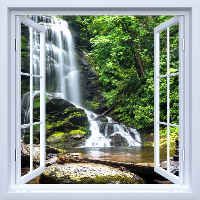 Fototapeta zmywalna Okno białe otwarte - Wodospad w lesie - Widok przez okno