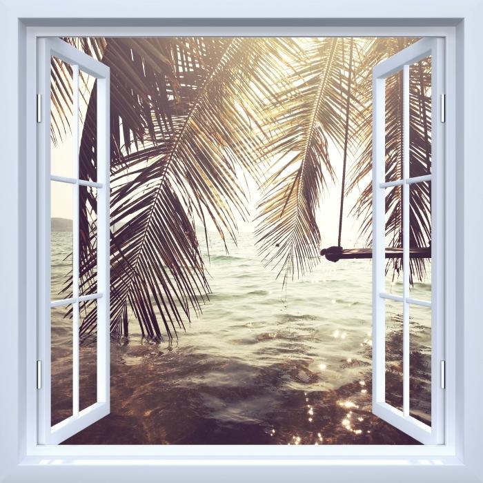 White open window - Tropical beach Vinyl Wall Mural - View through the window