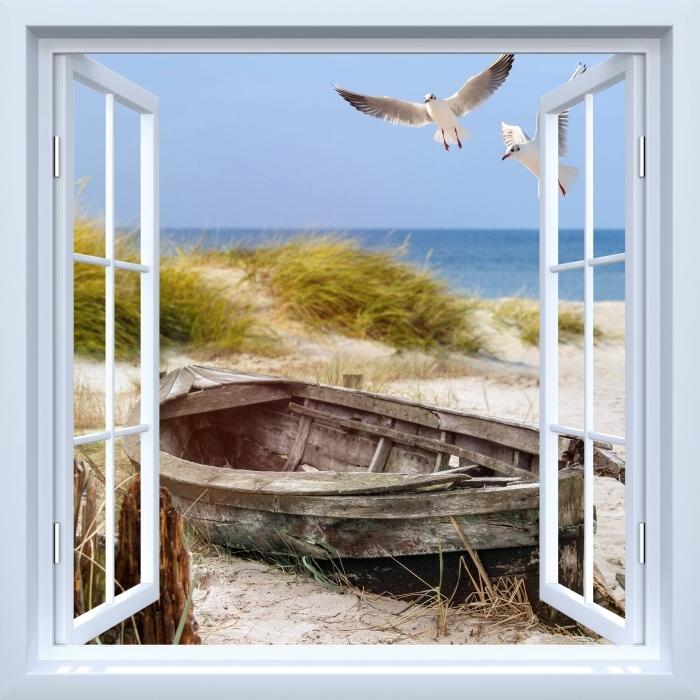 Fototapeta winylowa Okno białe otwarte - Plaża nad morzem - Widok przez okno