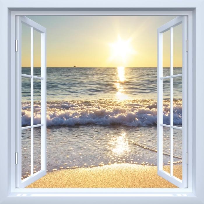 Papier peint vinyle Fenêtre ouverte blanche - mer d'été - La vue à travers la fenêtre