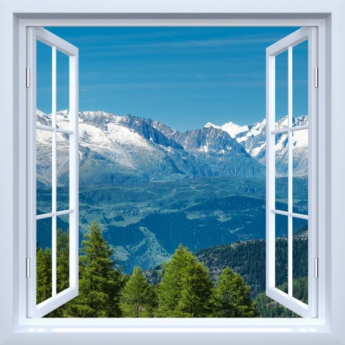 Fototapeta zmywalna Okno białe otwarte - Panorama wysokich górach - Widok przez okno