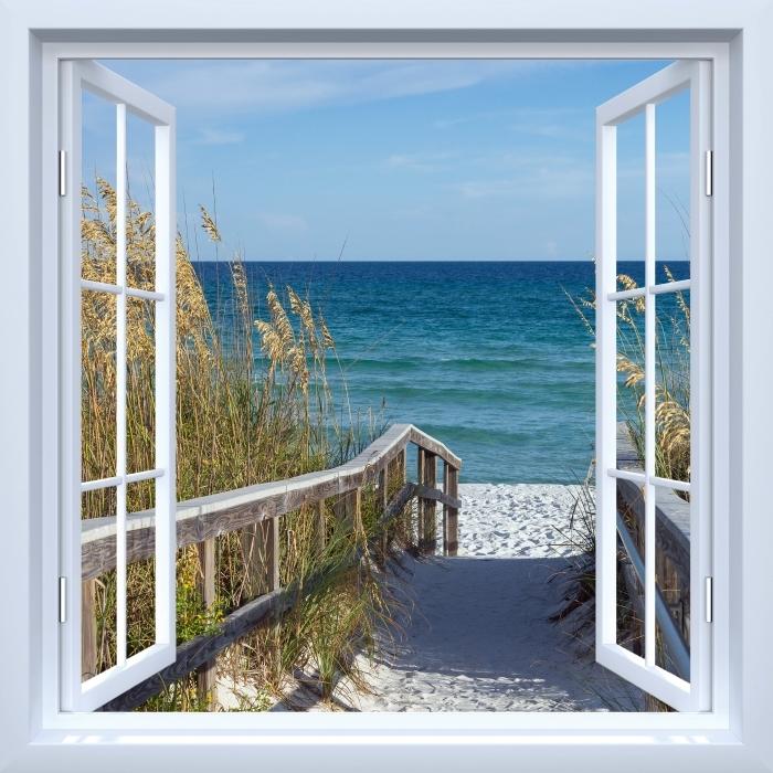 Fototapeta winylowa Okno białe otwarte - Wydmy - Widok przez okno