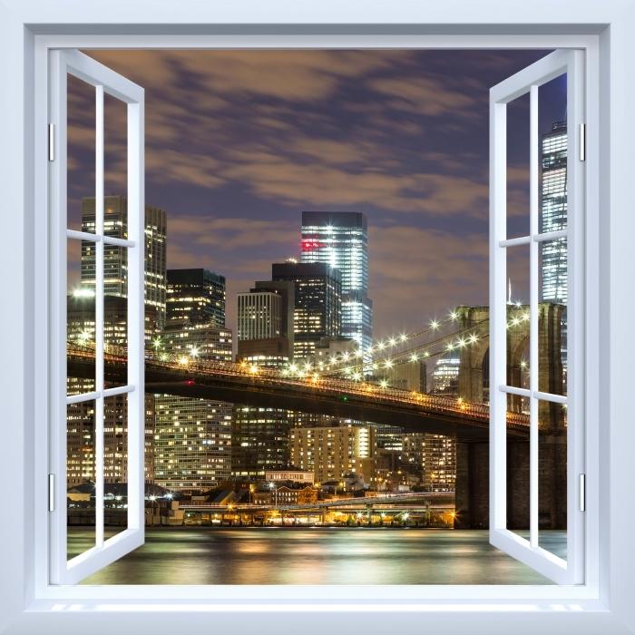 White open window - Brooklyn Bridge Vinyl Wall Mural - View through the window