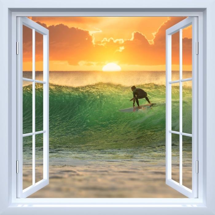 Papier peint vinyle Fenêtre ouverte blanche - Surfer - La vue à travers la fenêtre
