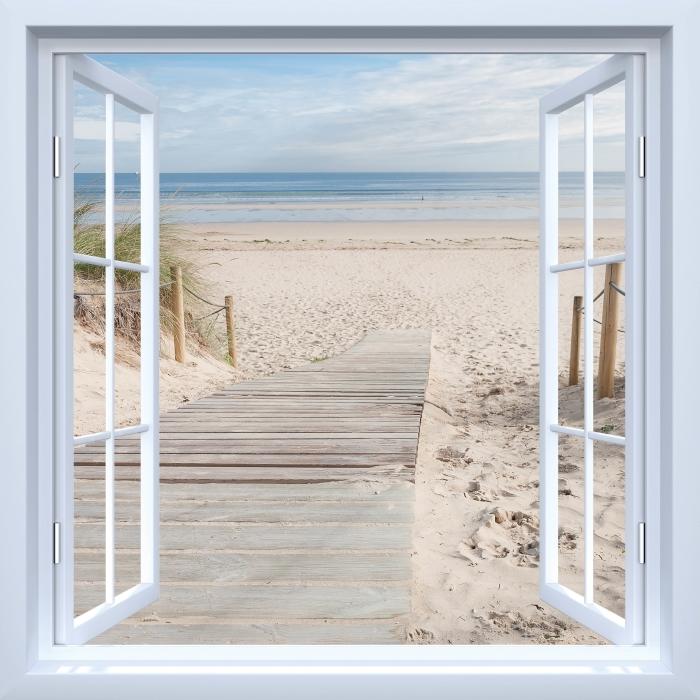 Vinyl Fotobehang White open raam - Strand en zee - Uitzicht door het raam