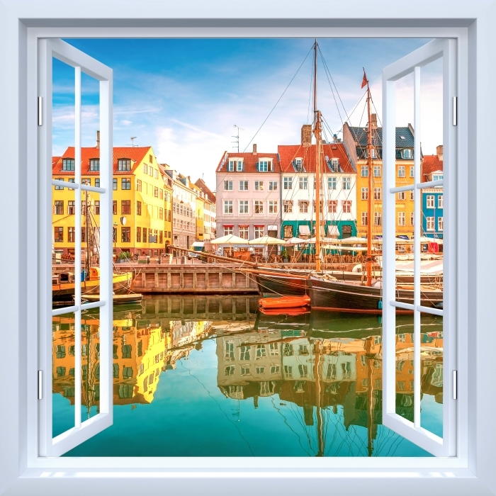 Vinyl Fotobehang White open raam - Kopenhagen - Uitzicht door het raam