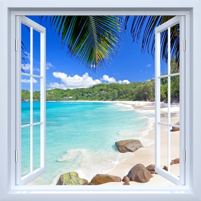 Papier peint vinyle Fenêtre ouverte blanche - Tropical - La vue à travers la fenêtre