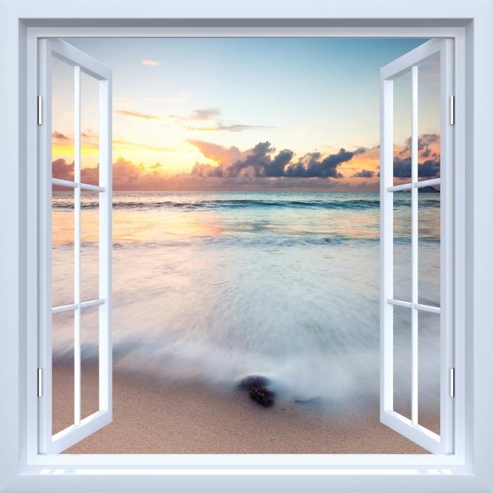 Papier peint vinyle Fenêtre ouverte blanche - Plage - La vue à travers la fenêtre