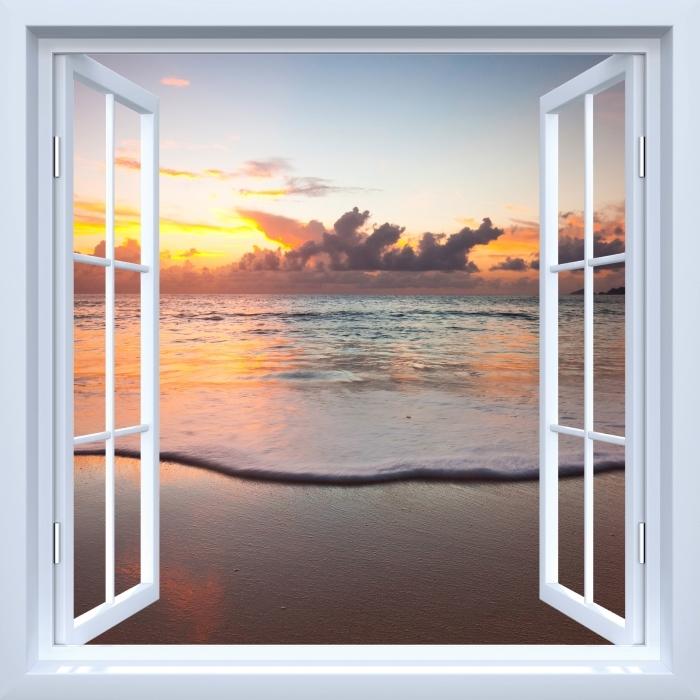 Papier peint vinyle Fenêtre ouverte blanche - Coucher de soleil - La vue à travers la fenêtre