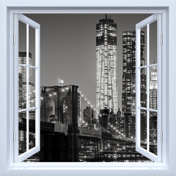 Fototapeta winylowa Okno białe otwarte - Nowy Jork nocą. Brooklyn Bridge. - Widok przez okno