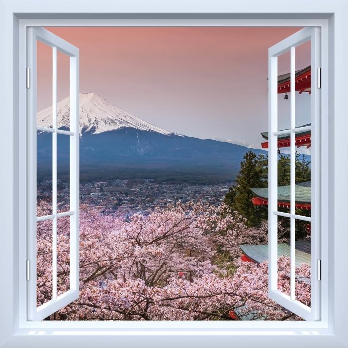 Fototapeta samoprzylepna Okno białe otwarte - Fuji - Imitacje