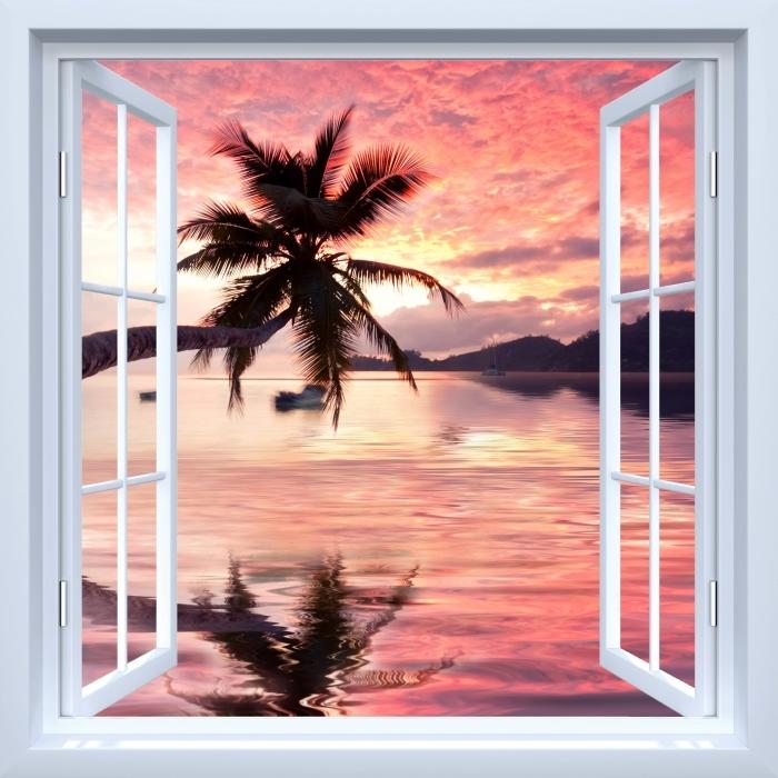 Vinyl Fotobehang White open raam - de zee - Uitzicht door het raam