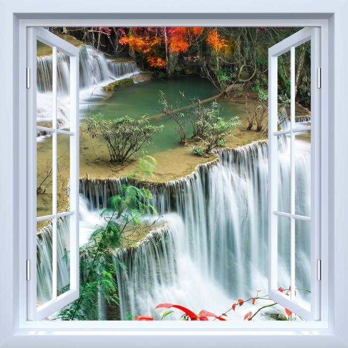 Papier peint vinyle Fenêtre ouverte blanche - Cascade dans la forêt tropicale - La vue à travers la fenêtre
