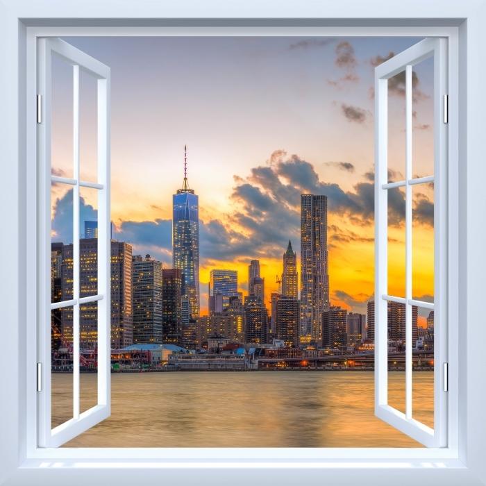 Papier peint vinyle Fenêtre ouverte blanche - Pont de Brooklyn - La vue à travers la fenêtre