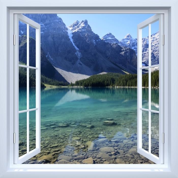 Papier peint vinyle Fenêtre ouverte blanche - matin d'été - La vue à travers la fenêtre