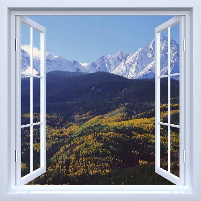 Papier peint vinyle Fenêtre ouverte blanche - Wilson Peak. Colorado. - La vue à travers la fenêtre