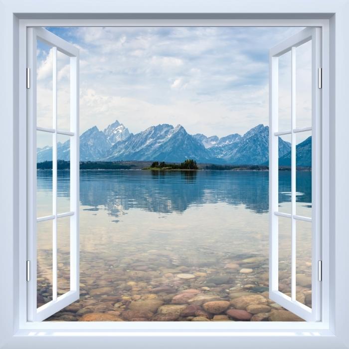 Papier peint vinyle Fenêtre ouverte blanche - Parc national de Grand Teton - La vue à travers la fenêtre