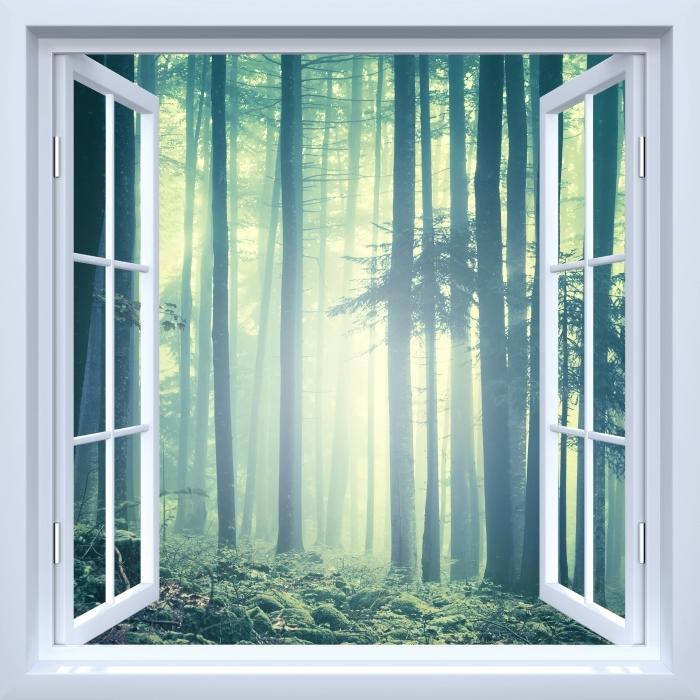 Fototapeta winylowa Okno białe otwarte - mglisty krajobraz. Słowenia. - Widok przez okno