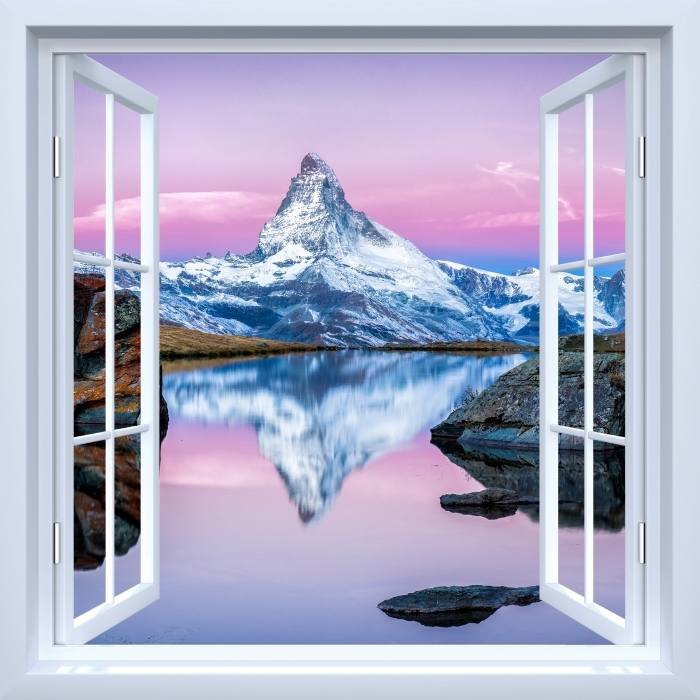 Papier peint vinyle Fenêtre ouverte blanche - le lac et les montagnes - La vue à travers la fenêtre