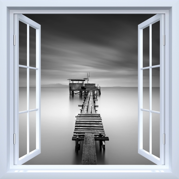 Fototapeta winylowa Okno białe otwarte - drewniane molo - Widok przez okno