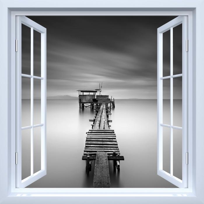 Papier peint vinyle Fenêtre ouverte blanche - jetée en bois - La vue à travers la fenêtre