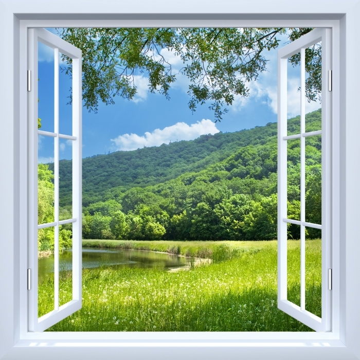 White open window - River Vinyl Wall Mural - View through the window