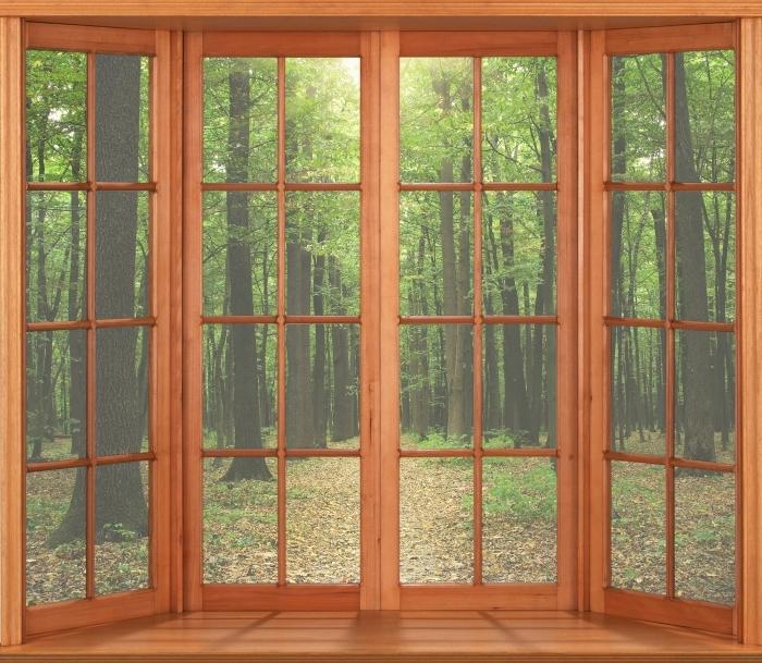 Papier peint vinyle Terrasse - Forêt au soleil - La vue à travers la fenêtre