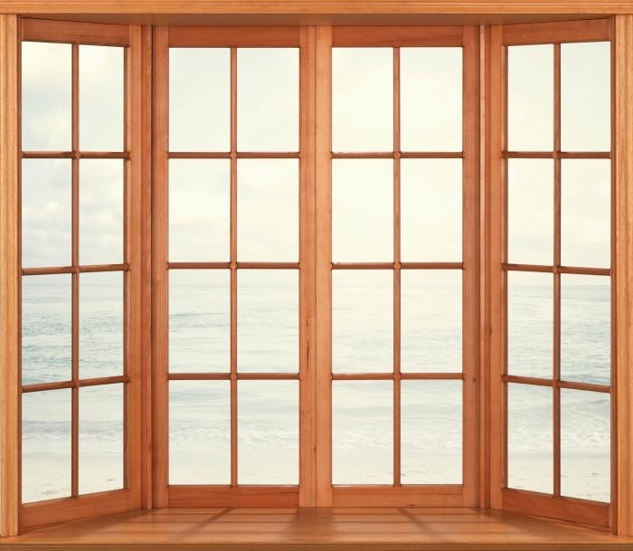 Fototapeta winylowa Taras - Plaża w lecie - Widok przez okno
