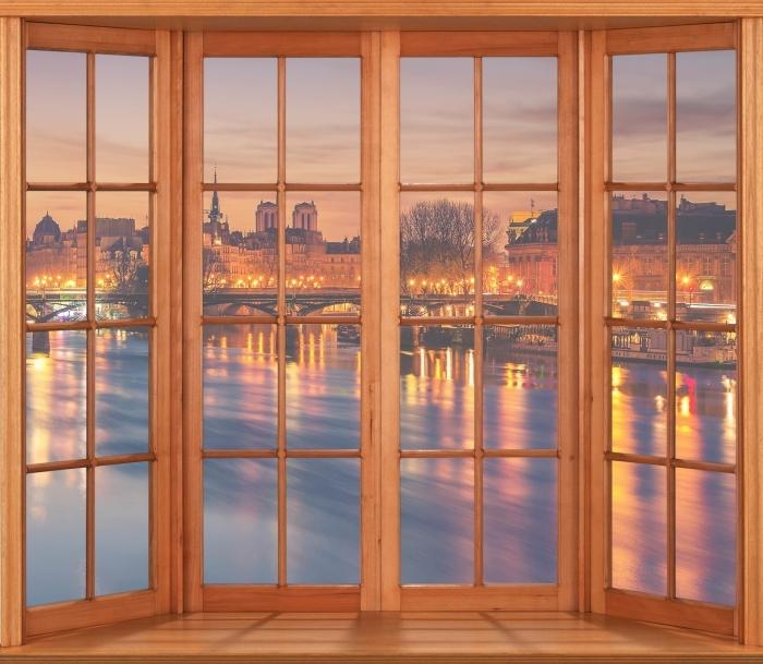 Papier peint vinyle Terrasse - Paris - La vue à travers la fenêtre