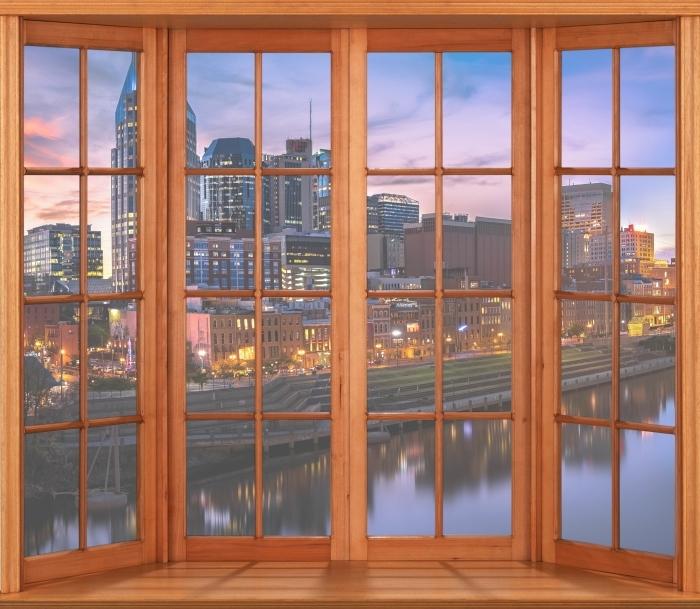 Fototapeta winylowa Taras - Nashville Skyline - Widok przez okno