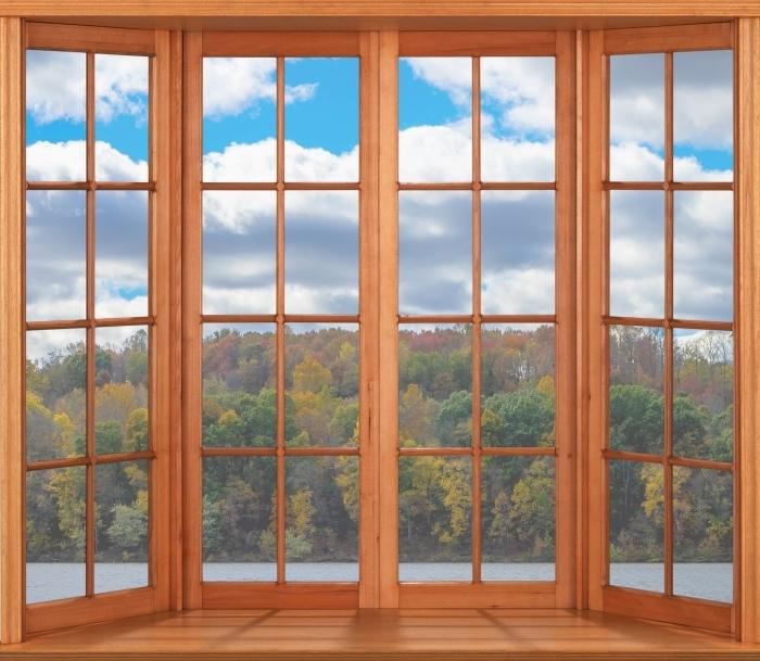 Papier peint vinyle Terrasse - Automne - La vue à travers la fenêtre