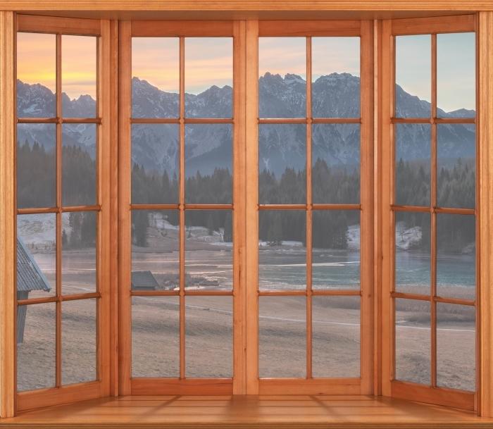 Papier peint vinyle Terrasse - Bavière - La vue à travers la fenêtre