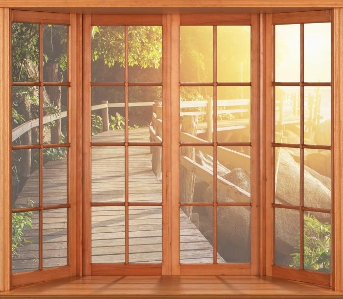 Papier peint vinyle Terrasse - Thaïlande - La vue à travers la fenêtre