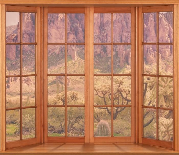 Papier peint vinyle Terrasse - Arizona - La vue à travers la fenêtre