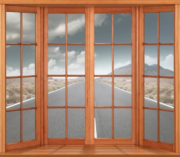 Papier peint vinyle Terrasse - Route à travers le désert. - La vue à travers la fenêtre