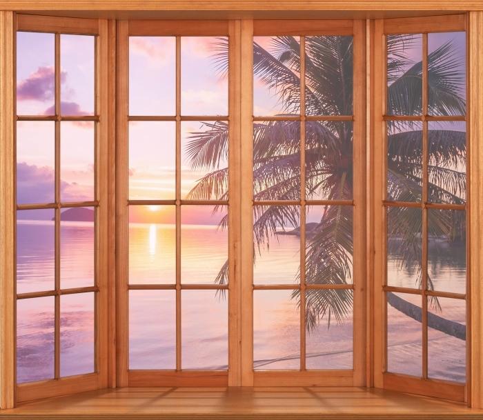 Vinyl Fotobehang Terras - Tropisch strand - Uitzicht door het raam
