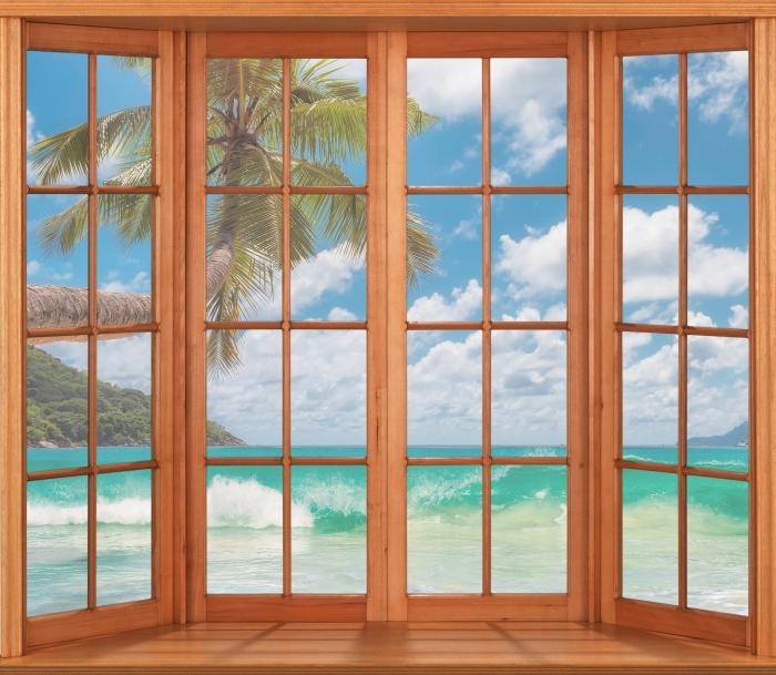 Fototapeta winylowa Taras - Raj na plaży - Widok przez okno
