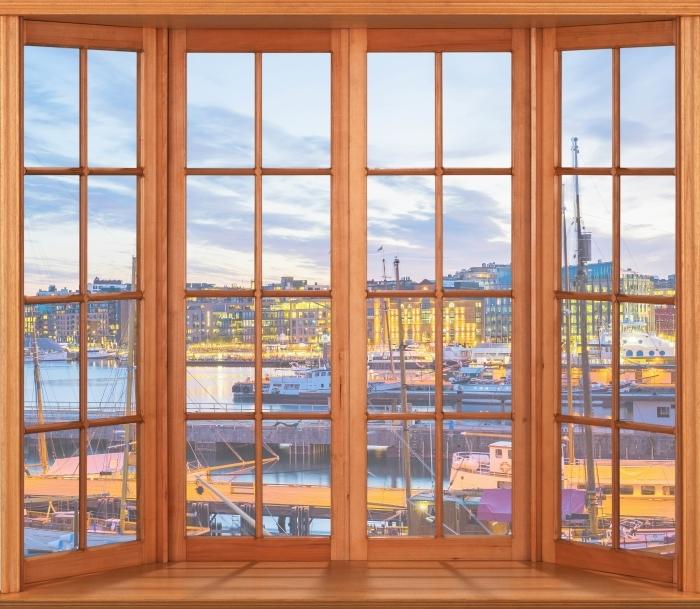 Vinyl-Fototapete Terrasse - Oslo - Blick durch das Fenster