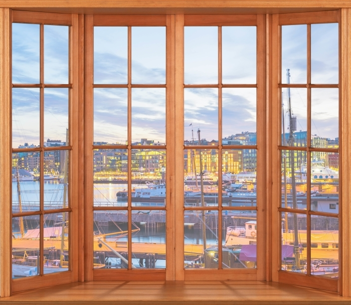 Fototapeta winylowa Taras - Oslo - Widok przez okno